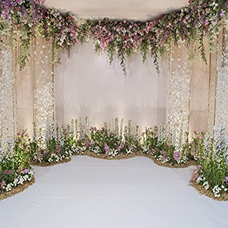 Baocicco 8x8ft Wedding Backdrop Beautiful Curtains Romantic Floral Decorations Flower Clusters Photography Background Wedding Ceremony Bridal Shower