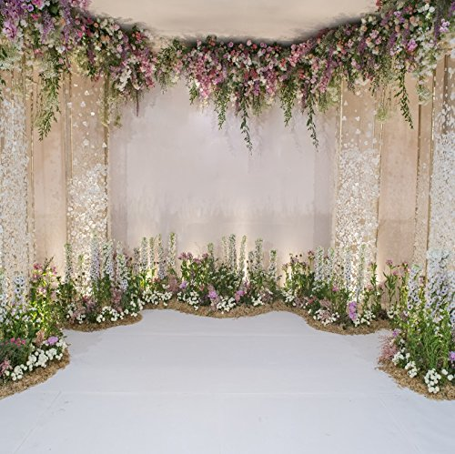 (Laeacco Wedding Backdrops 10x10ft Flower and Wedding Decoration Photography Background Fresh Flowers Spring Indoor Chic Wall White Floor Cemeony Celebration Girls Adult Portrait)