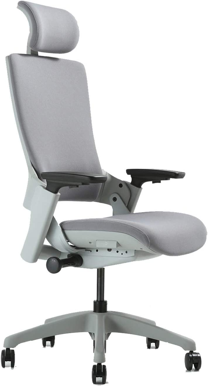CLATINA Ergonomic High Swivel Executive Chair with Adjustable Height Head 3D Arm Rest Lumbar Support and Upholstered Back for Home Office (Gray)