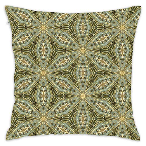 Asefcnxkjii Antique Gold Bead Sage Green Wash - Vintage Bold Kaleidosnap Cotton Linen Home Decorative Throw Pillow Case Cushion Cover for Sofa Couch 1818 inch