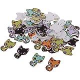 Onior ヴィンテージ 猫 ボタン 2穴 木製 DIY クラフト 多色 全2種 約50ピース - 猫1 耐久性