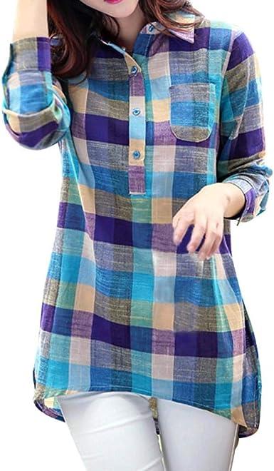 VECDY Botón Casual De Algodón De Manga Larga para Mujer Camisa A Cuadros Floja Camisa Camisa: Amazon.es: Ropa y accesorios