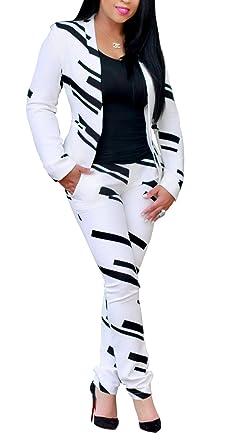 Evesymil Women Lapel Collar Long Sleeve Stripe Top Jacket Pants 2 Piece Suit  Set Outfits 516ef78869