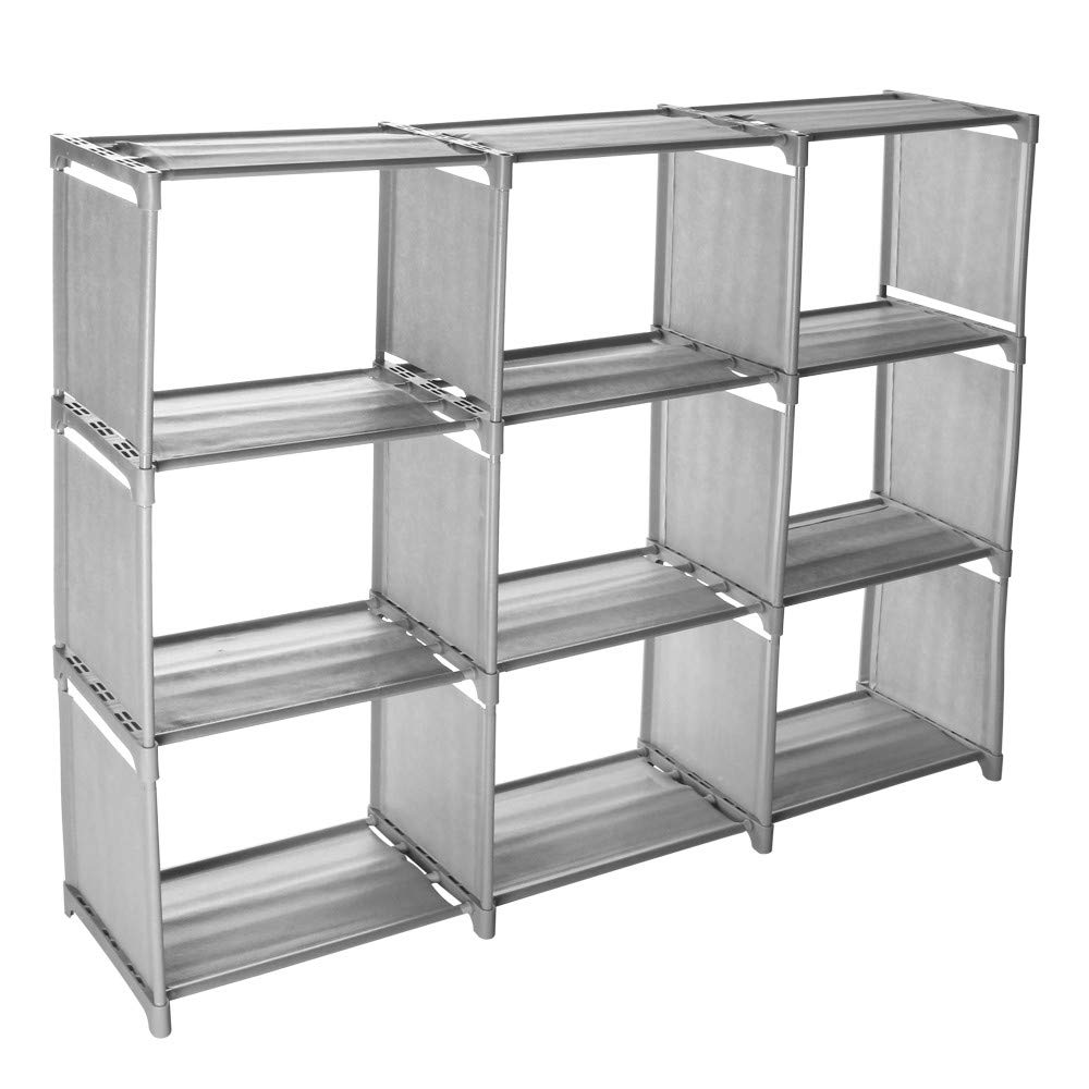 Adagod 9-Grid Assembled DIY Open Storage Rack, Bookcase Creative Cabinet Storage Rack Saving Space