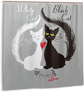 Airmark Shower Curtain for Bathroom Decor Curtains Set,Pair Cats in Love Having Eaten Fish Red Heart Romantic Black White Kitties Cat Fabric Bath Curtains with Hooks 60x72in
