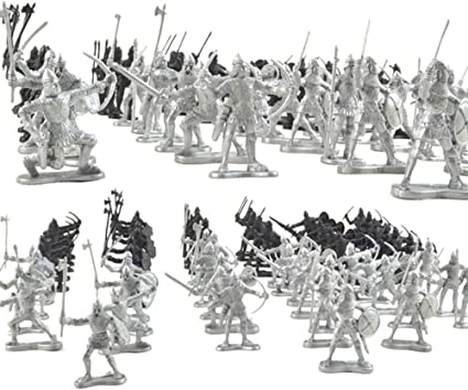 88pcs Painted Medieval Warriors Soldier Action Figure Playset Riding Horse