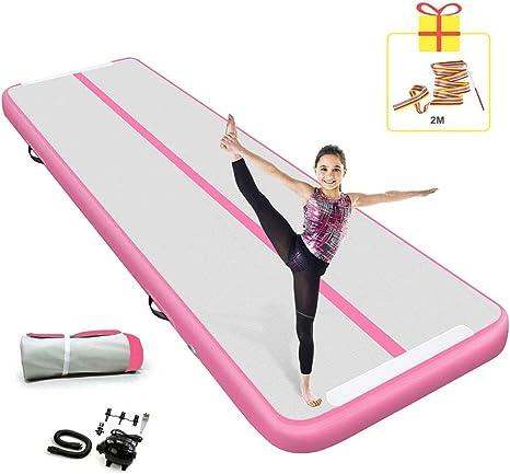 Pista de Aire Mat 3/4/5/6/7/8/9/10/11/12m Pista de Aire Inflable Yoga/Taekwondo/Flotador de Agua/Colchoneta de Entrenamiento con Bomba eléctrica Rosa: Amazon.es: Deportes y aire libre