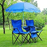 Folding Portable Double Chair w/Umbrella Table Outdoor Cool Sport Camping Picnic For Sale