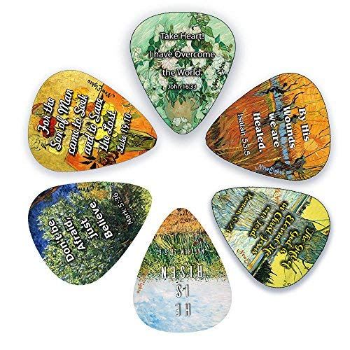 Christian Necklace Guitar Pick - Guitar Picks with Christian Jesus Has Risen Bible Verses (12-Pack)- Medium Gauge Celluloid - Cool Acoustic and Electric guitar Accessories for Men and Women - FREE ONE Pick Holder Wallet