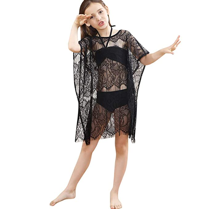 a8721a481f Kingspinner Girls Bikini Set Summer Beach 3-Piece Tops+Shorts+Lace Shawl  Swimsuit