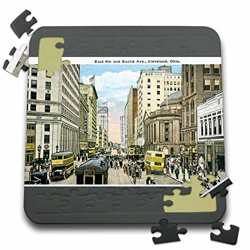 Street Scene Antique (BLN Vintage US Cities and States Postcards - Cleveland Ohio Vintage Street Scene with Antique Double Decker Bus - 10x10 Inch Puzzle (pzl_170545_2))