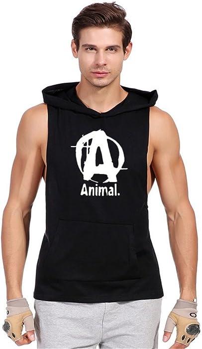 f4db20afc711c7 Amazon.com  Mens Deep Side Cut Vest Bodybuilding Hoodie Tank Tops Black A  SChest34  Clothing