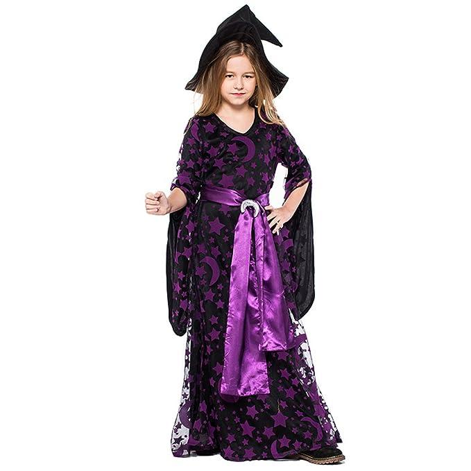 Liny Bambini Costume da Strega con Cappello - Ragazza Halloween Vestito  Travestimento Costume per Halloween Festa ef505dc8344f