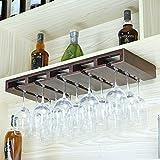 Rustic Pine Wood Handmade 5 Slots Wine Glass Holder Floating Wine Glass Shelf Storage Rack(L25''xW10'' x H 2'' inch,Bronze)