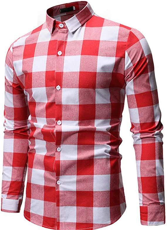 SoonerQuicker Camisa Hombre Tops shirtNueva Camisa de Manga Larga a Cuadros Simple de la Moda de Manga Larga Blusa Superior: Amazon.es: Ropa y accesorios