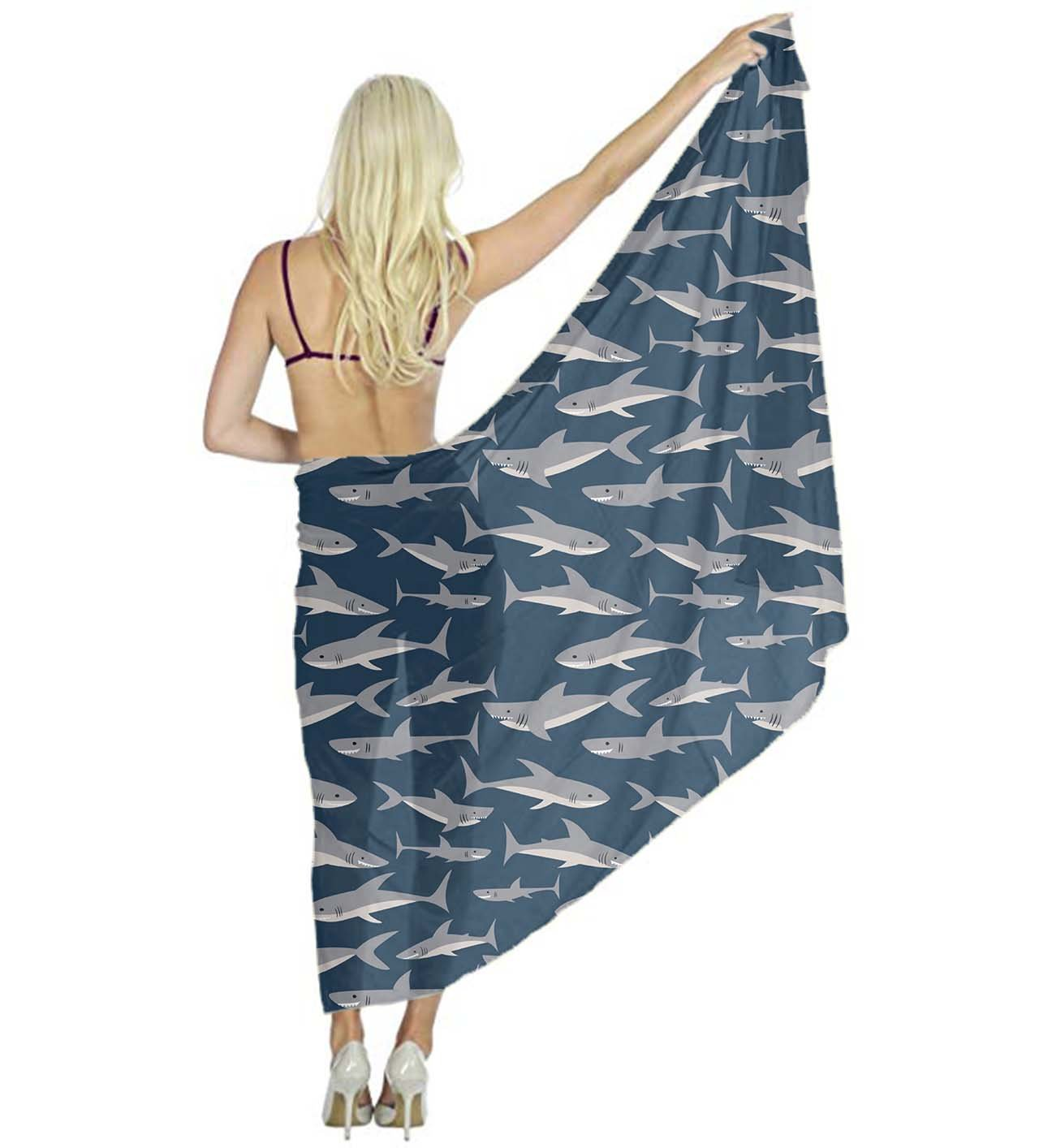 AMERICAN TANG Swimwear Chiffon Printed Cover up Beach Sarong Wrap - Cute Shark Print Eco-friendly Silk Scarf - Bikini Swimsuit Wrap Pareo Dress - Perfect gift for woman