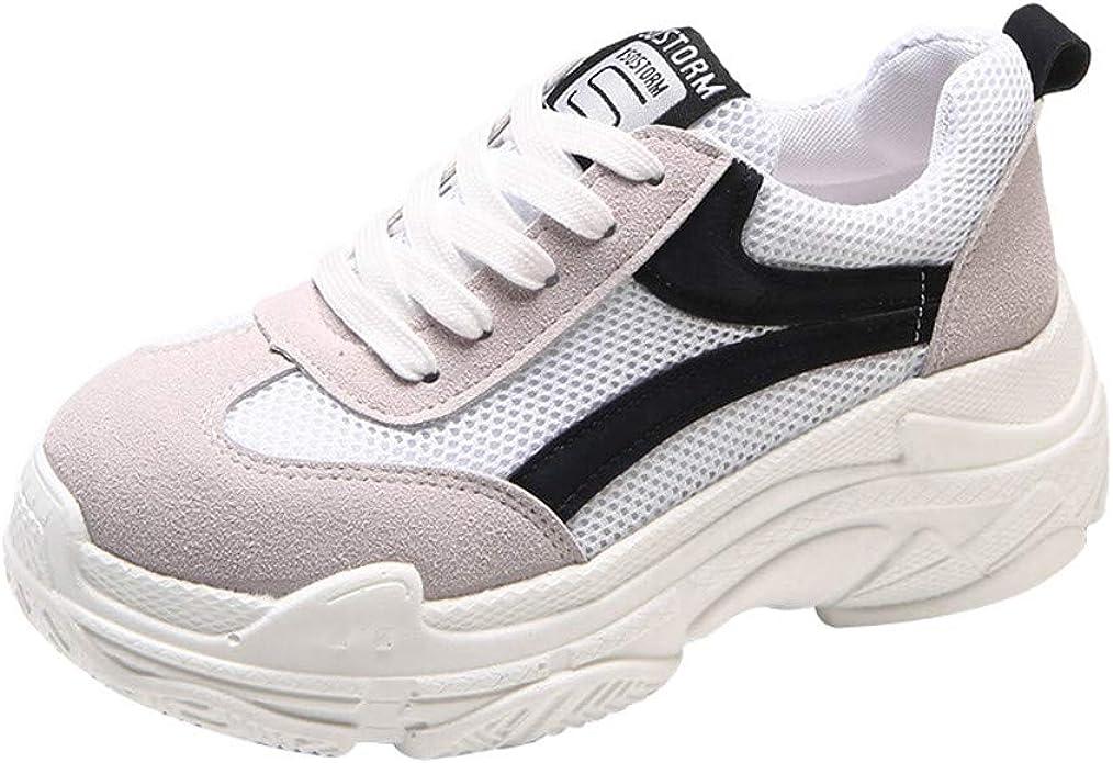 Sylar Zapatillas Deportivas De Mujer Running Zapatos Moda Cosiendo Zapatos De Lona Zapatillas De Cordones Suela Gruesa Zapatos Casuales 36-38.5: Amazon.es: Zapatos y complementos