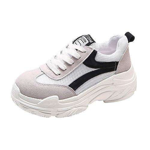 Sylar Zapatillas Deportivas De Mujer Running Zapatos Moda Cosiendo Zapatos De Lona Zapatillas De Cordones Suela Gruesa Zapatos Casuales 36-38.5: Amazon.es: ...