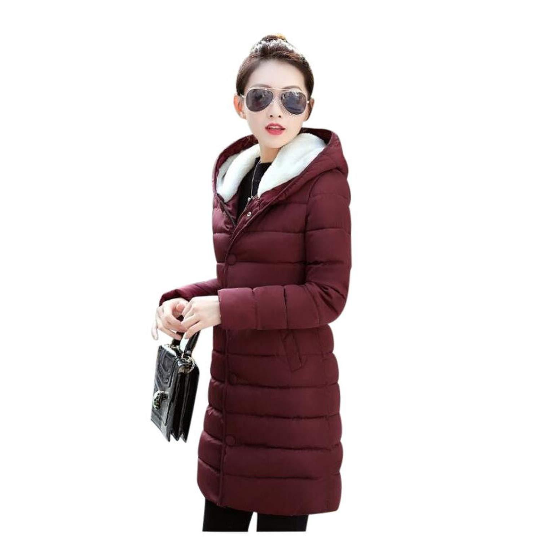 Deep red Ladies Fashion Coat Winter Jacket Women Outerwear Warm Wadded Jacket Padded Parka