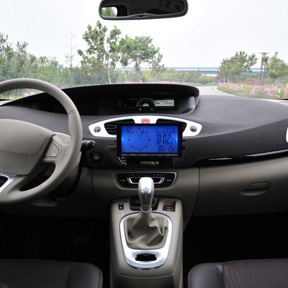 Amazon.com: Awakingdemi Car Temperature Thermometer Clock,LCD Digital Clock Car Voltage Voltmeter Hygrometer Weather Forecast(EC-06: Automotive