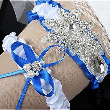 Sunshinesmile Wedding Bridal Lace Garter Set with Rhinestone Blue