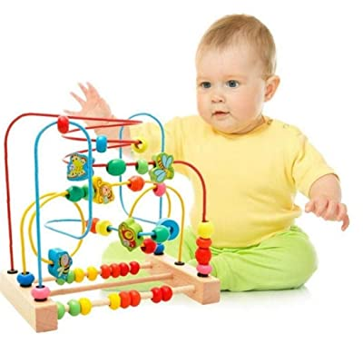Baby Toddler Wooden Montessori Early Educational Toys Circle First Bead Coaster Maze : Baby