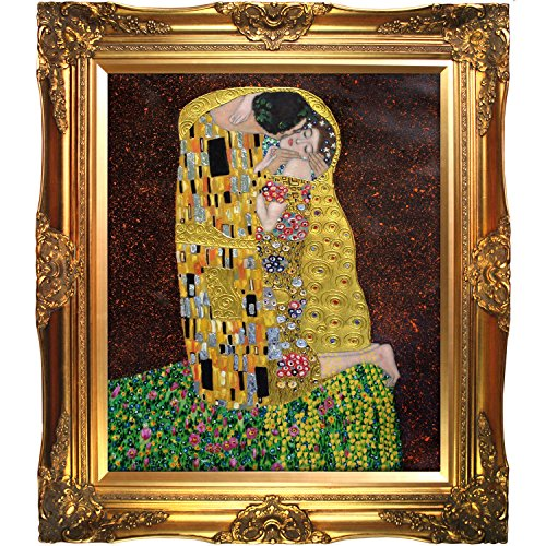La Pastiche KLG1839-FR-6996G20X24 Framed Oil Painting The Kiss Full view Metallic Embellished by Gustav Klimt with Victorian Gold (View Oil Painting)