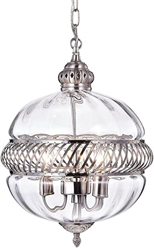 Warehouse of Tiffany RL8168PN Permin Globe Clear 13-inch Glass and Metal