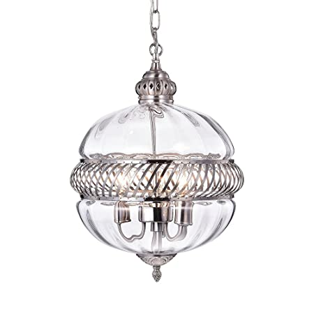 Warehouse of Tiffany RL8168PN Permin Globe Clear 13-inch Glass and Metal