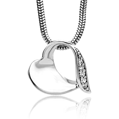 Miore 925 Sterling Silver Necklace with Open Heart Pendant and Clear Cubic Zirconia on 45cm Snake Chain for Women r19Yk