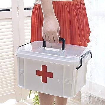 Botiqu/ín de primeros auxilios Caja de emergencia port/átil Caja de almacenamiento de medicina de pl/ástico Caja de viaje Caja de