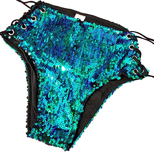 Summer Musical Festival Rave Outfits Holographic Sequin High Waisted Shorts Bottoms (L, ()