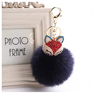 Amazon.com  Womens Charms Crystal Faux Fox Fur Keychain Women Trinkets  Suspension On Bags Car Key Chain Key Ring Toy Gifts Llaveros Jewelry 7C0394  Navy ... 45d612908f
