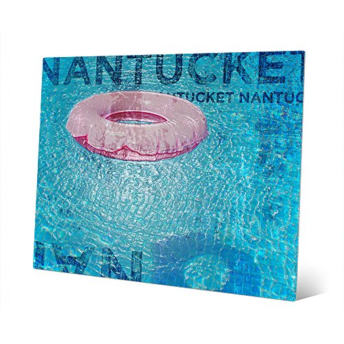 Inner Tube - Pink: Nantucket Graphic on Distressed Wood-pattern Pool Float for Beach House Wall Art Print on Metal