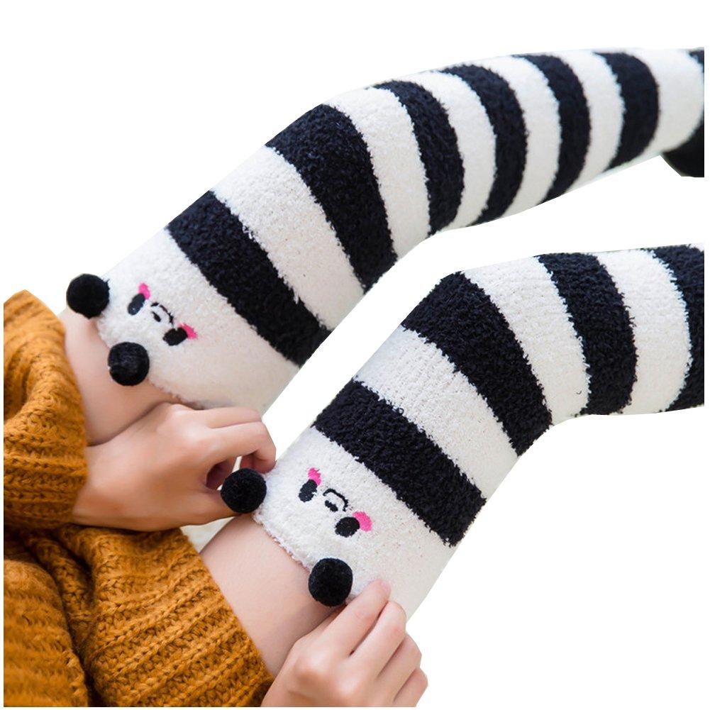 Girl's Leg Warmers Soft Warm Animal Coral Fleece Thigh High Long Striped Socks, Best Christmas Gift (Panda)