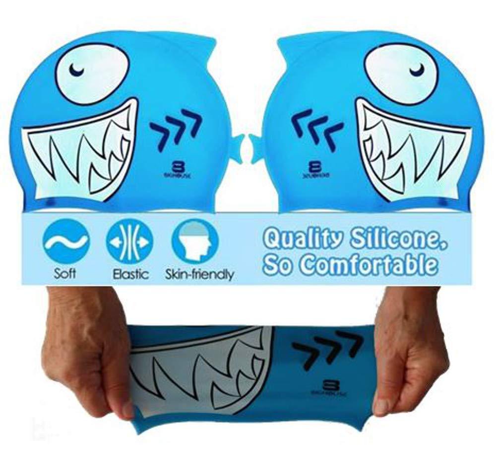 POURPRE BigHouse Bonnet de Piscine en Silicone en Forme de Requin Taille Unique