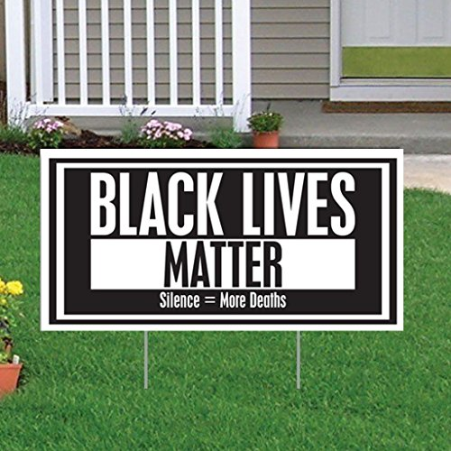 """VictoryStore Yard Sign Outdoor Lawn Decorations: Black Lives Matter """"Silence = More Deaths"""", Size 12 inch x 24 inch, Set of 2"""