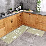 Carvapet 2 Piece Kitchen Mat No Rubber Backing Doormat Runner Rug Set, Spice Shaker Design (Olive 19