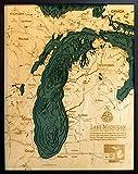 Lake Michigan 3-D Nautical Wood Chart, 24.5'' x 31''