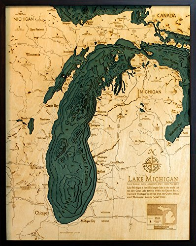 Lake Michigan 3-D Nautical Wood Chart, 24.5'' x 31'' by Woodchart