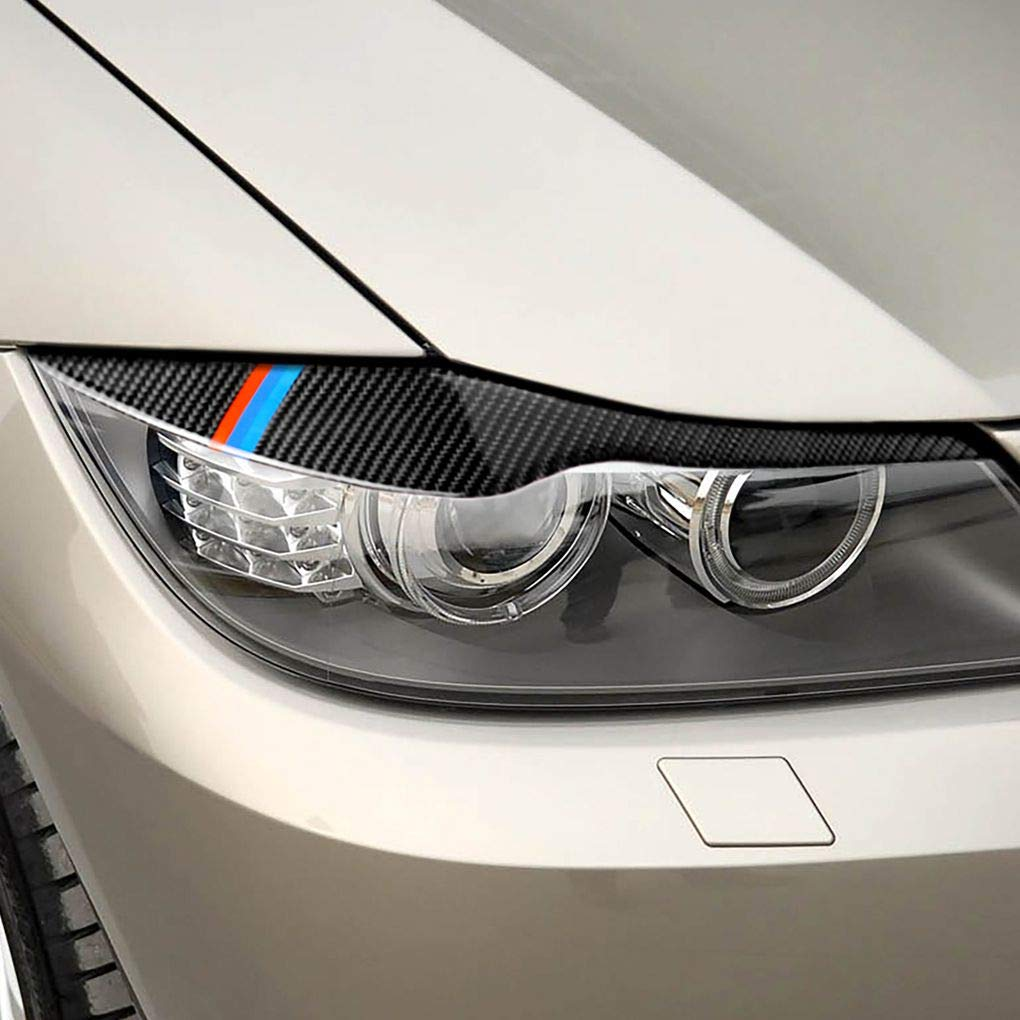 Jinzuke 1 par de Fibra de Carbono Cejas de la Linterna Los p/árpados Etiqueta de reemplazo para BMW E90 320i 325i 330i 2005-2012
