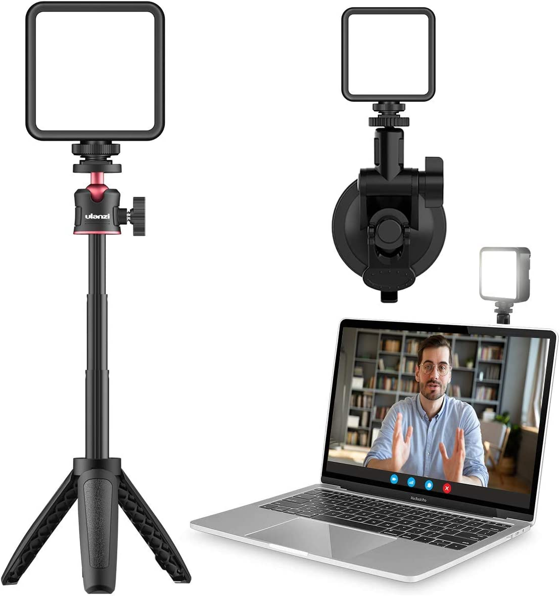 Video Light with Tripod & Suction Cup ULNAZI Computer Light for Video Conferencing, Laptop Video Conference Lighting for Remote Working, Zoom Call, Self Broadcasting,Online Meeting, Photography