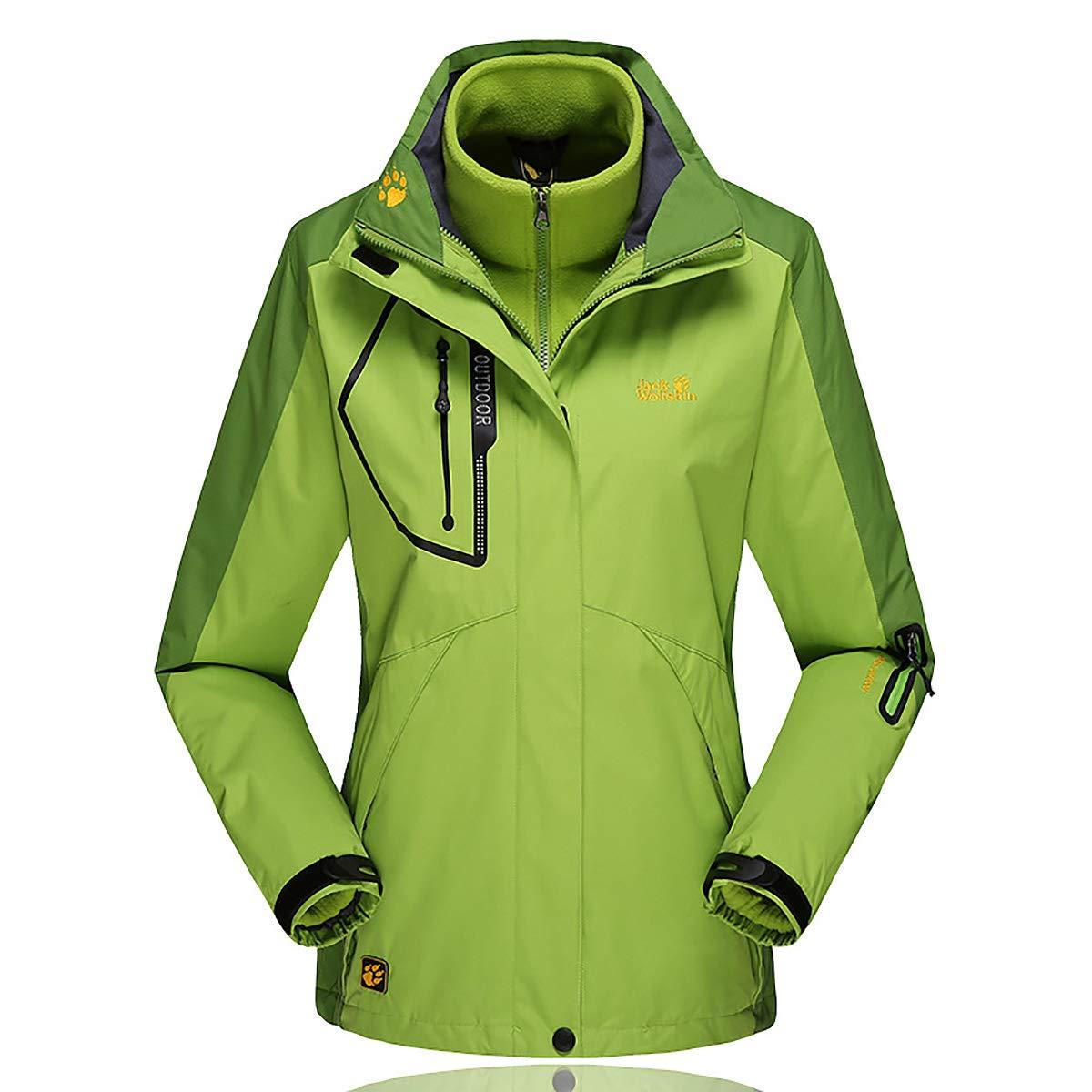 Green Women 3in1 Outdoor Jacket with Removable Fleece Liner, Windproof Waterproof Warm TwoPiece Down Jacket Winter Mountaineering Sportswearr,Purple,XL