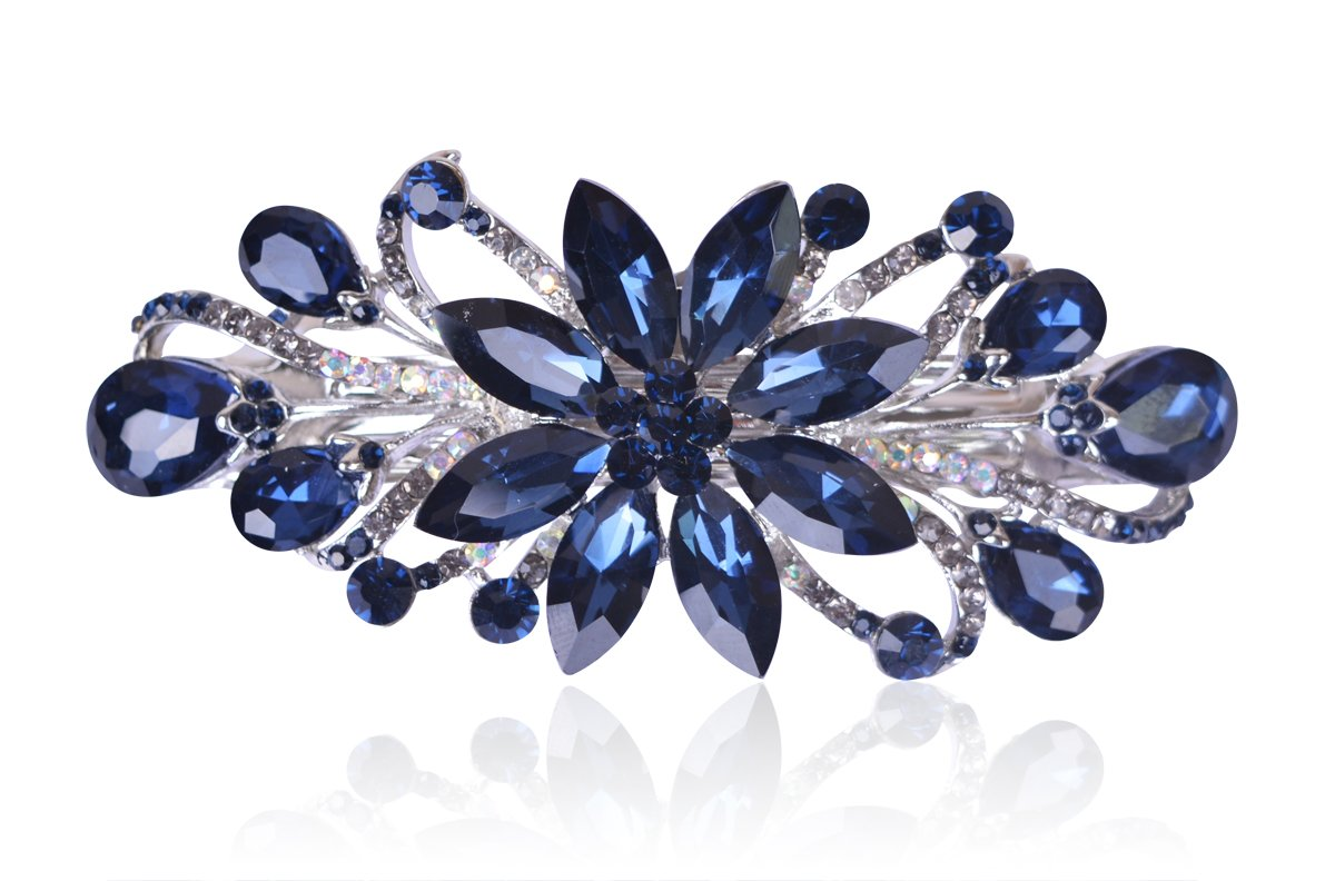 Sankuwen Flower Luxury Jewelry Design Hairpin Rhinestone Hair Barrette Clip (Dark Blue) : Beauty