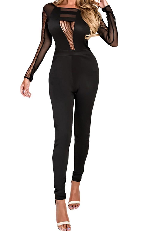 YFFaye Women's Formfitting Mesh Cut out Back Jumpsuit