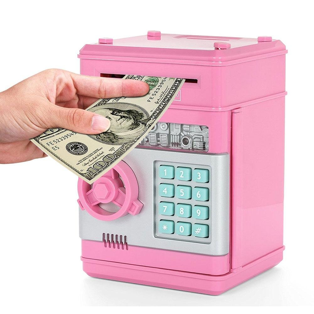 KOBWA Cartoon Electronic Piggy Bank Cash Coin Can, Mini ATM Money Saver  Banks Password Kids Safe Box Great Toy Deposit Box for Kids Children, Pink