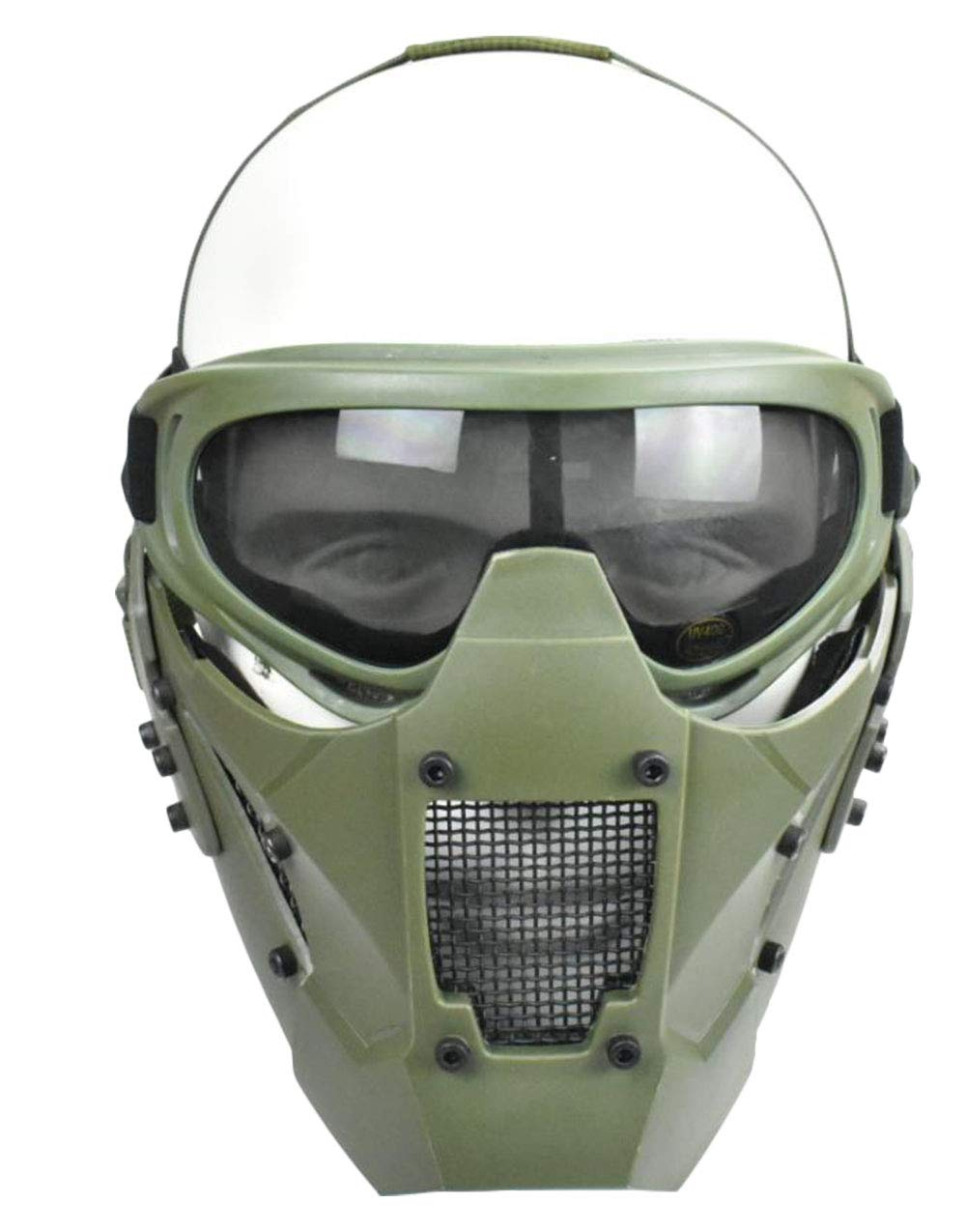Jadedragon Tactical Airsoft Lower Face Mask Half Face Steel Mesh Protective Mask and Goggles Set (Green) by Jadedragon