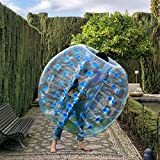 Costzon Inflatable Bumper Soccer Ball, Dia 5ft (1.5m) Giant Human Hamster Bubble Ball, 8mm Thickness Transparent PVC Zorb Ball for Kids, Teens Outdoor Team Gaming Play (Blue)