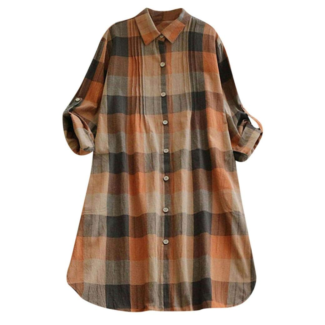 Clearance Women Blouse Clothes Matching Color Retro Plaid Long Sleeve Casual Button Long Dress Mini Shirt Dress (XL, Khaki)