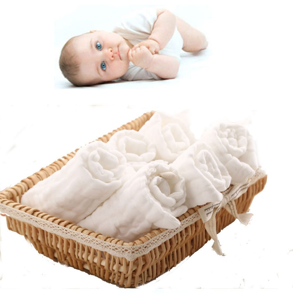 Amazon.com : Lucear 6-Pack Baby Washcloths, reusable wipes, Muslin ...